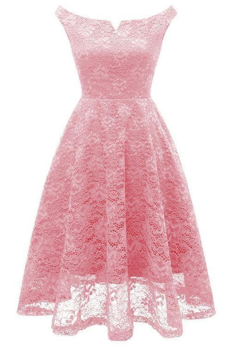 JJslove Pink A-Line Lace Dress - JJslove.com