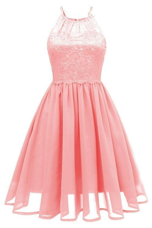 JJslove Pink Patchwork Condole Belt Lace Cut Out Round Neck Sweet Lace Dress - JJslove.com