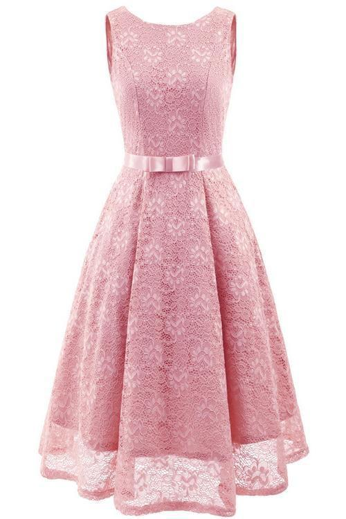 JJslove Pink Round Neck Lace Dress - JJslove.com