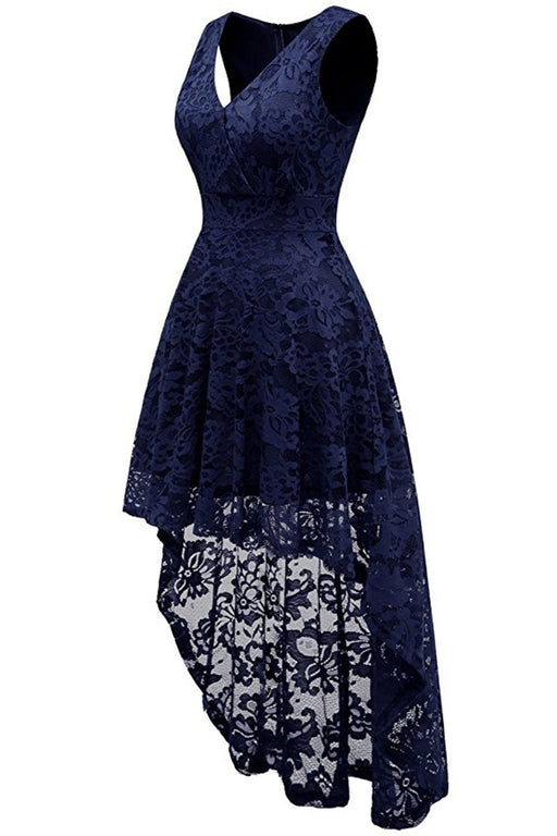 JJslove Simple Cocktail Dresses Lace Short Front Long Back Dresses - JJslove.com