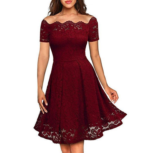JJslove Solid Lace Peasant Off the Shoulder A-line Dress - JJslove.com