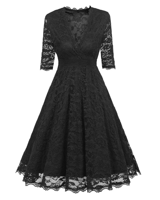 JJslove Street Lace Covered Low Cut Burst Large Swing Dress Cocktail Swing Dress - JJslove.com