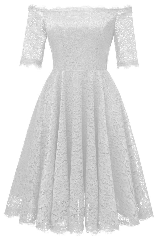 JJslove White A-line Knee-length Lace Dress - JJslove.com