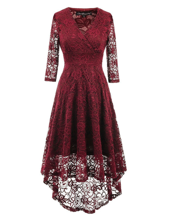 JJslove Women 1950s Street Deep V Neck High-low Hem Lace Cocktail Party Dress - JJslove.com