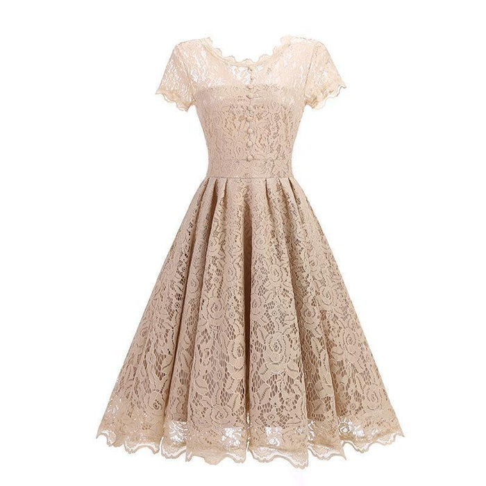 JJslove Women Floral Lace Short Sleeve Street Lady Party Swing Bridesmaid Dress - JJslove.com