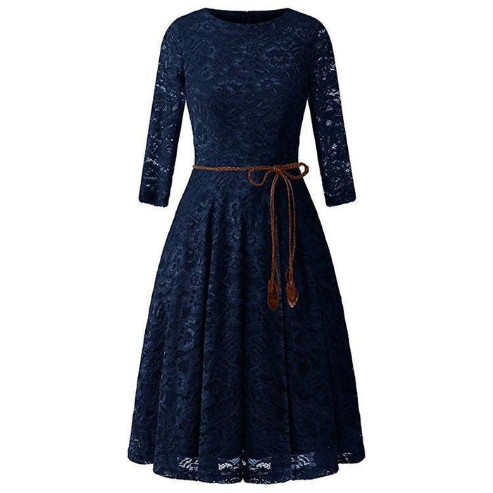 JJslove Women's 3/4 Sleeve Flare Floral Lace Swing Party Bridesmaid Dress - JJslove.com