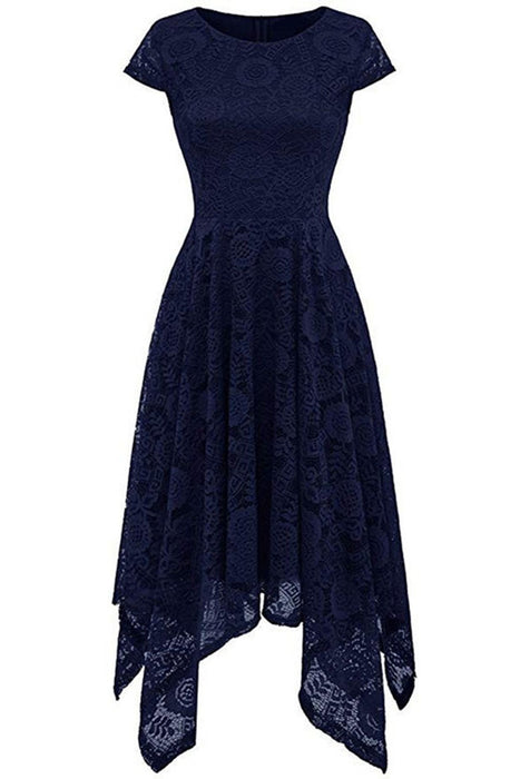 JJslove Women's Floral Lace Cap Sleeve Handkerchief Hem Cocktail Party Swing Dress - JJslove.com