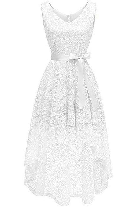 JJslove Women's Floral Lace Hi-Lo Bridesmaid Dress V Neck Cocktail Formal Swing Dress - JJslove.com