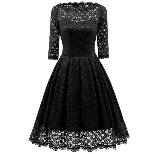JJslove Women's Sexy New Street Lace Half Sleeve Formal Patchwork Wedding Dress - JJslove.com