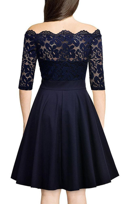 JJslove Women's Street Floral Lace Boat Neck Cocktail Formal Swing Dress - JJslove.com