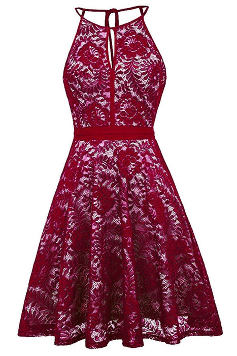 JJslove Women's Halter Floral Lace Cocktail Party Dress Homecoming Dress - JJslove.com