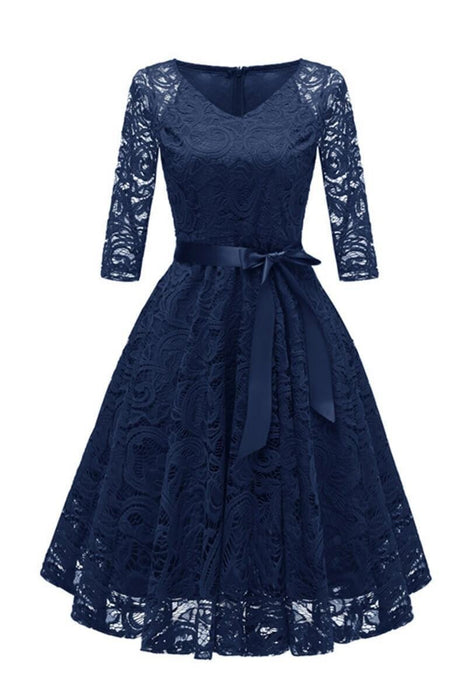Cute Autumn Long Sleeve V-Neck Women Lace Dresses - JJslove.com