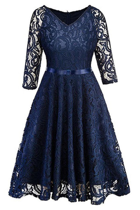 Evening Gothic Hollow Out Lace Bow Ribbon Belt Work Dresses - JJslove.com