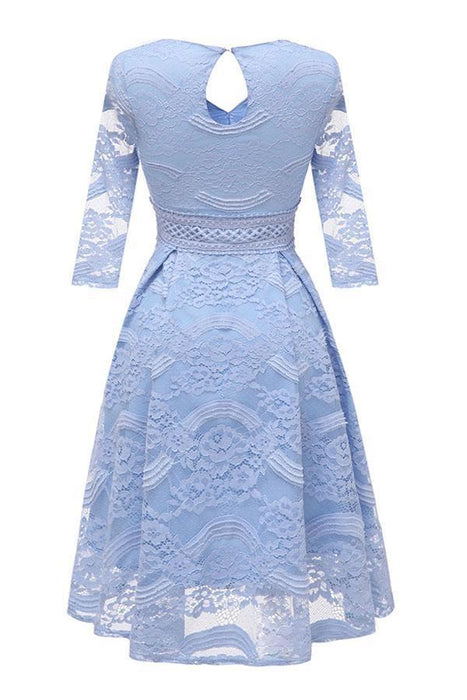 Evening Jacquard Embroidery Hollow Out Lace Dress - JJslove.com