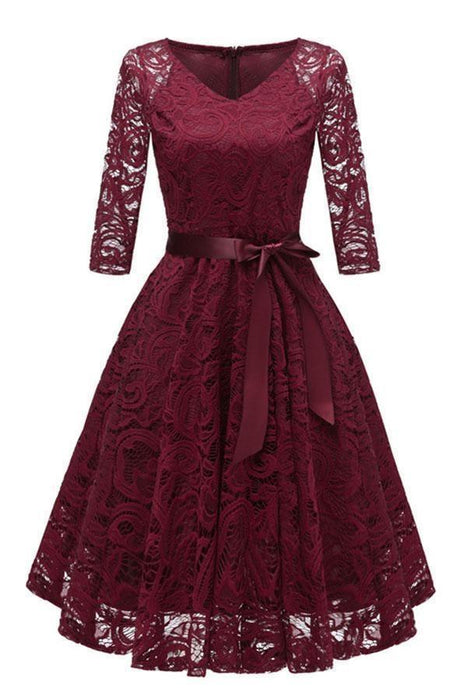 Lace 3/4 Sleeve V-Neck Red Hollow Out Female Robe Dress - JJslove.com