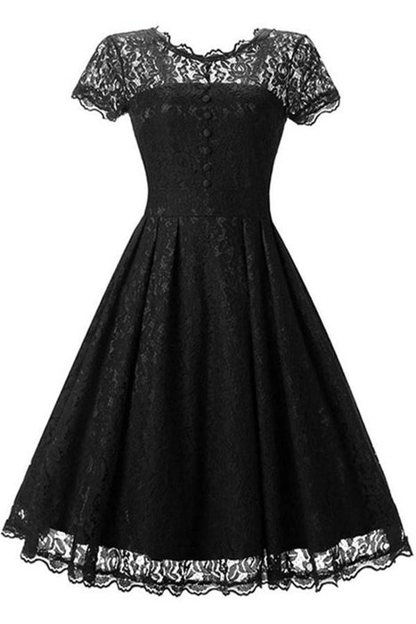 Lace Black Button Chic Elegant Street Dresses - JJslove.com