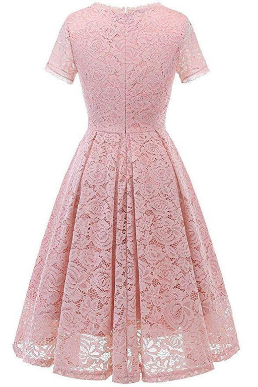 Short Sleeve Office Lace Ladies Knee-Length Dress - JJslove.com
