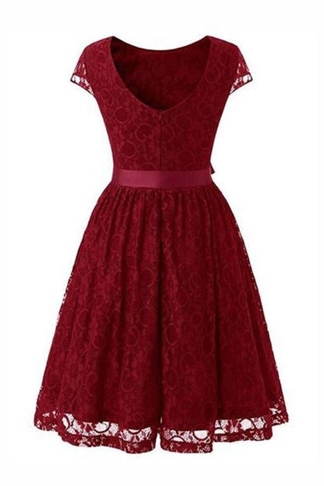 Street Floral Lace Dress Women Elegant Short Party Dress - JJslove.com