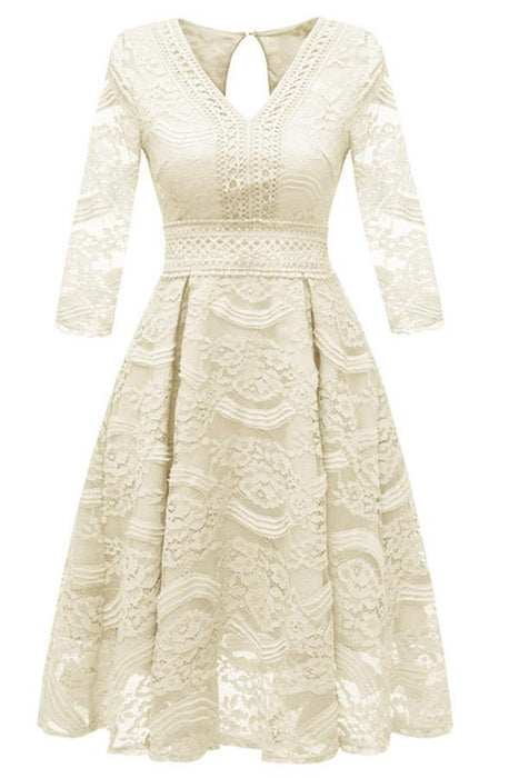 Street Lace 3/4 Sleeves Pink Flower Party Ball Gown - JJslove.com