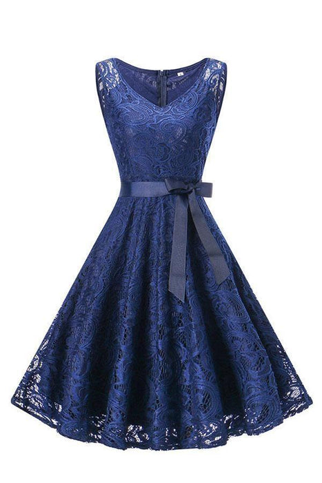 Women's Patchwork Lace-up Bowknot Dresses - JJslove.com