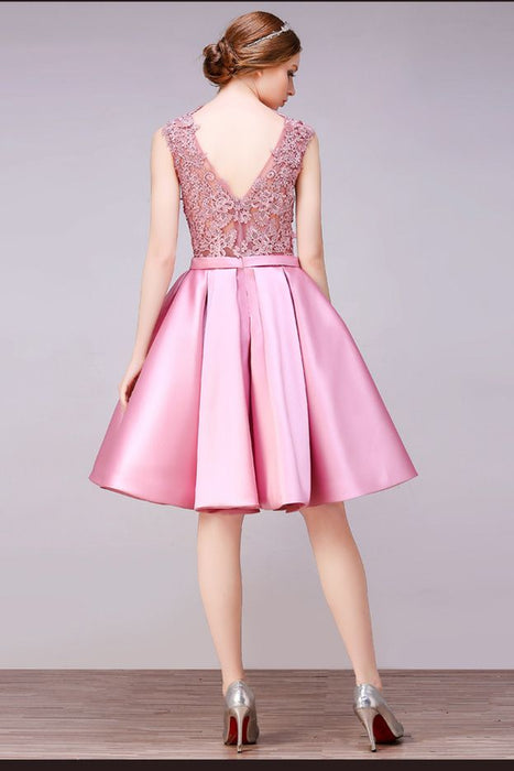 A Line Round Neck V Back Short Pink Lace Cocktail Dress Lace Dresses - JJslove.com