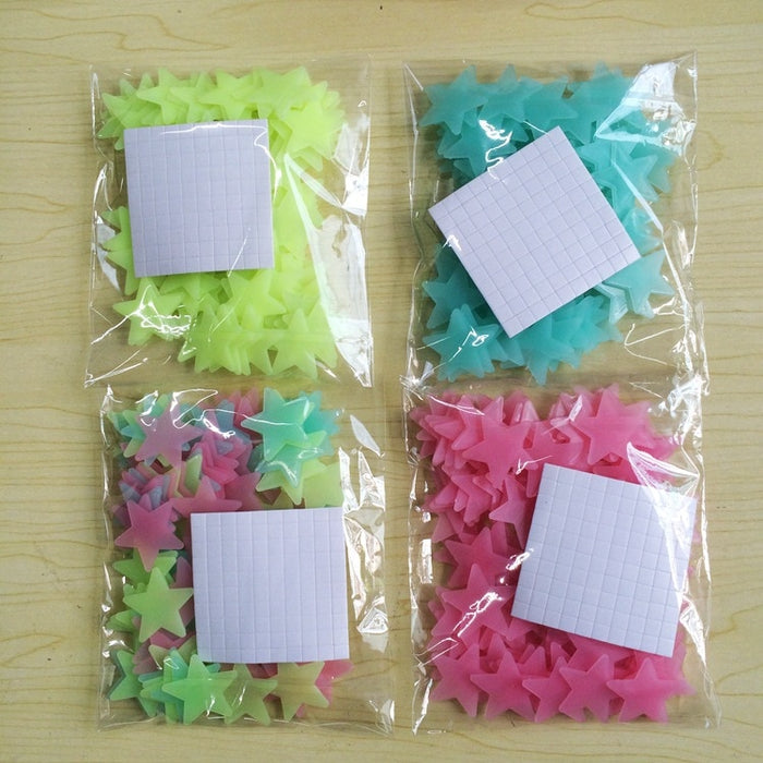100pcs 3D Stars Glow In Dark Luminous Fluorescent Plastic Wall Sticker Home Decor - JJslove.com