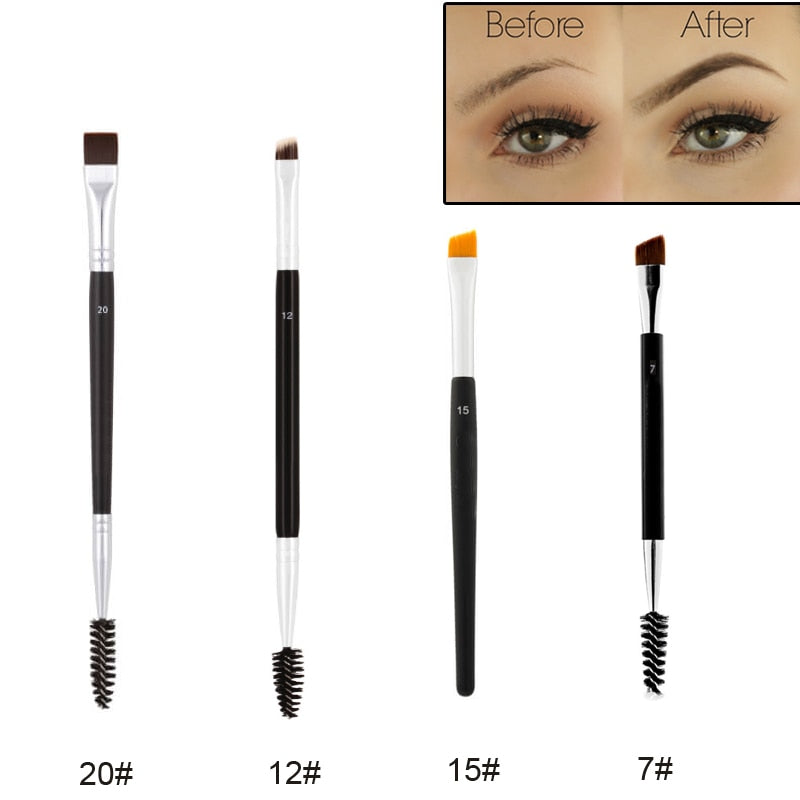 Professional Dual Sided Duo Brow Brush Eyebrow Enhancer Angled Eyebrow Brush - JJslove.com