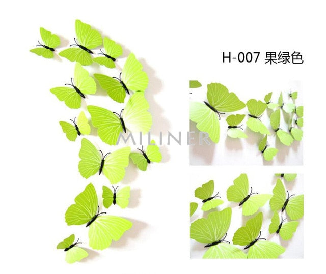 Free shipping 12pcs PVC 3d Butterfly wall decor cute Butterflies wall stickers home Decoration - JJslove.com