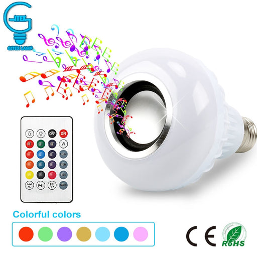 Smart E27 RGB Bluetooth Speaker LED Bulb Light 12W Music Playing Dimmable Wireless - JJslove.com