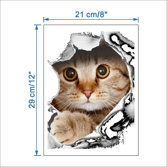 Cats 3D Wall Sticker Toilet Stickers Hole View Vivid Dogs Bathroom Home Decoration - JJslove.com