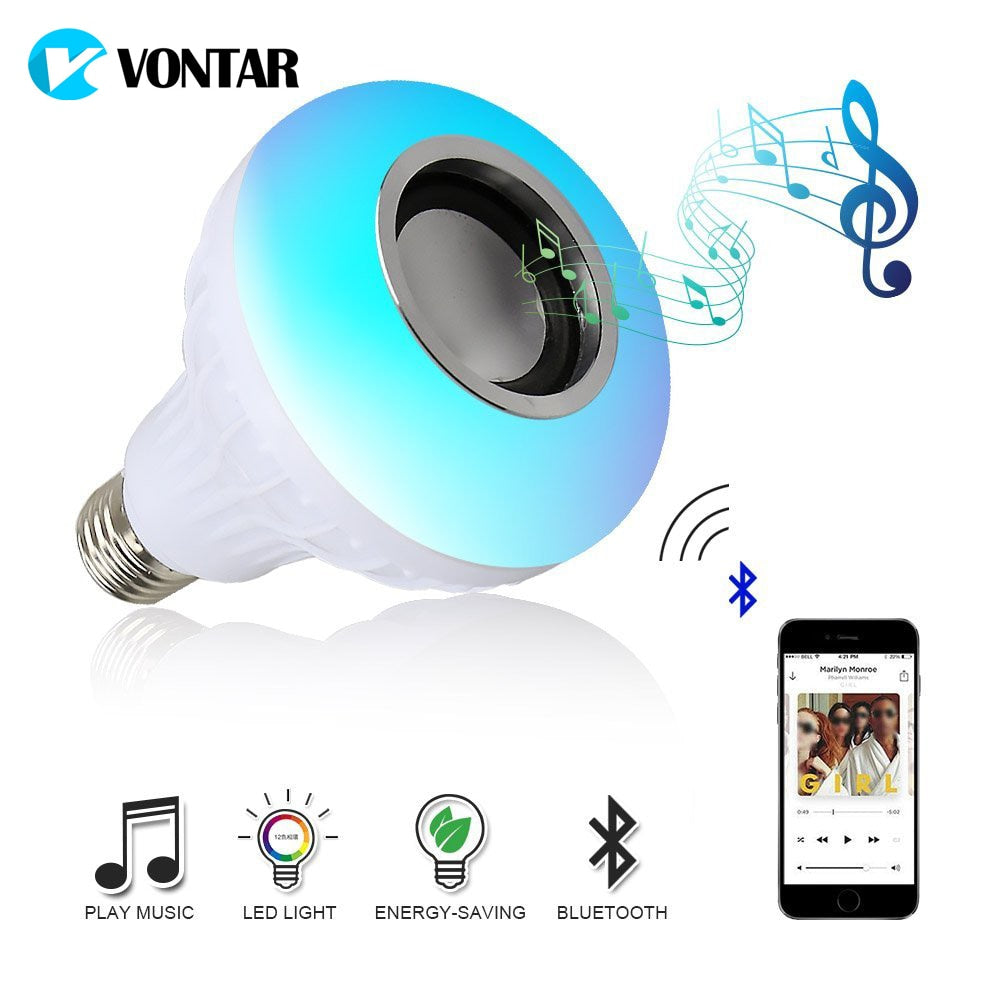 VONTAR E27 B22 Wireless Bluetooth Speaker+12W RGB Bulb LED Lamp 110V 220V Smart Led Light Music Player Audio with Remote Control - JJslove.com
