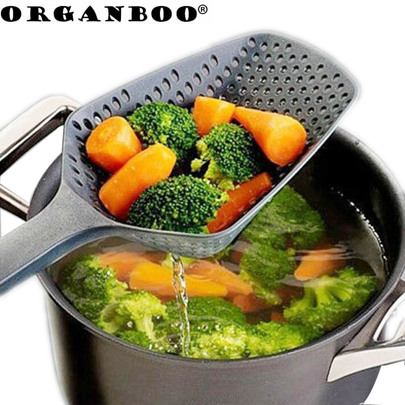 ORGANBOO 1PC Kitchen Accessories Gadgets Nylon Strainer Scoop Cooking Tools Black - JJslove.com