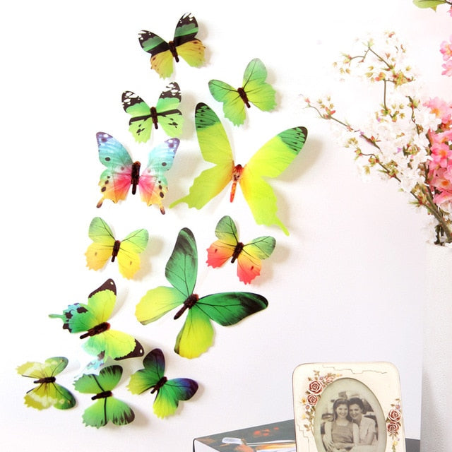 12Pcs Butterflies Wall Sticker Decals Stickers on the wall New Year Home Decorations - JJslove.com