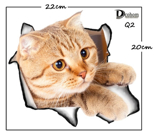 Hole View Cat Dog 3D Wall Sticker Bathroom Toilet Kids Room Decoration Wall Decals Sticker - JJslove.com