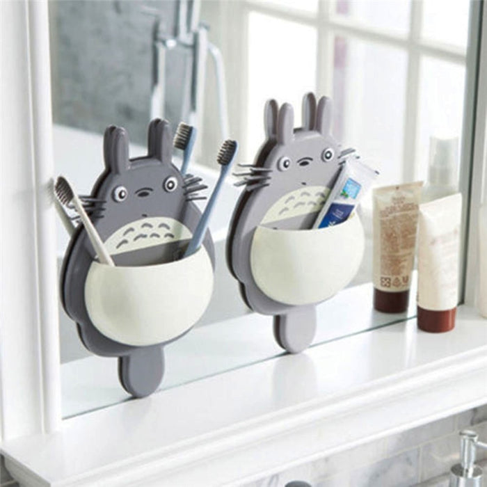 1Pcs Toothbrush Wall Mount Holder Cute Totoro Sucker Suction Bathroom Organizer Family Tools - JJslove.com