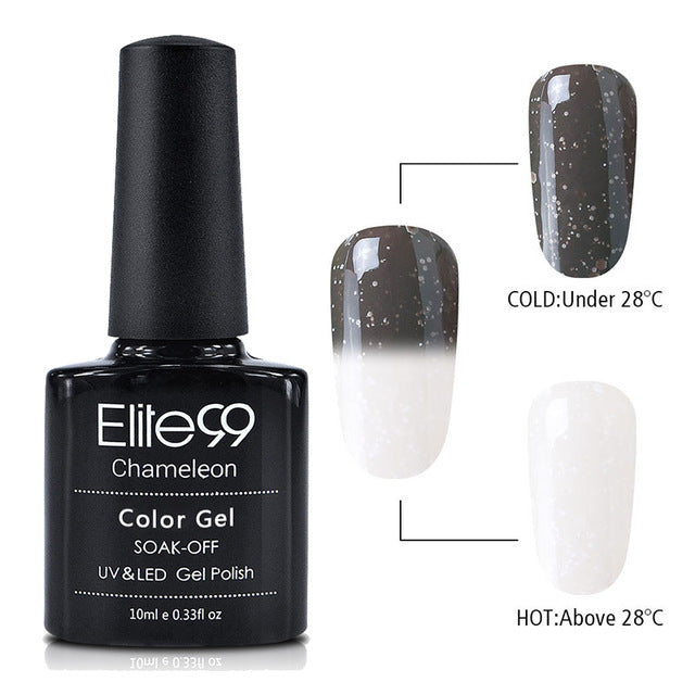 Elite99 10ml Snowy Thermal Chameleon Gel Temperature Change Color Gel Polish - JJslove.com