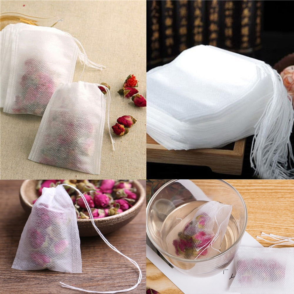 100Pcs/Lot Teabags 5.5 x 7CM Empty Scented Tea Bags With String Heal Seal Filter Paper - JJslove.com