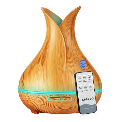 KBAYBO 400ml Aroma Essential Oil Diffuser Ultrasonic Air Humidifier with Wood Grain - JJslove.com