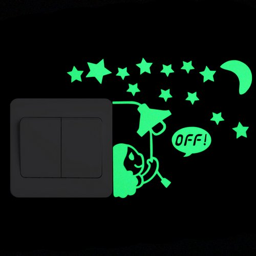 Cartoon Luminous Switch Sticker Glow in the Dark Wall Stickers Home Decor - JJslove.com