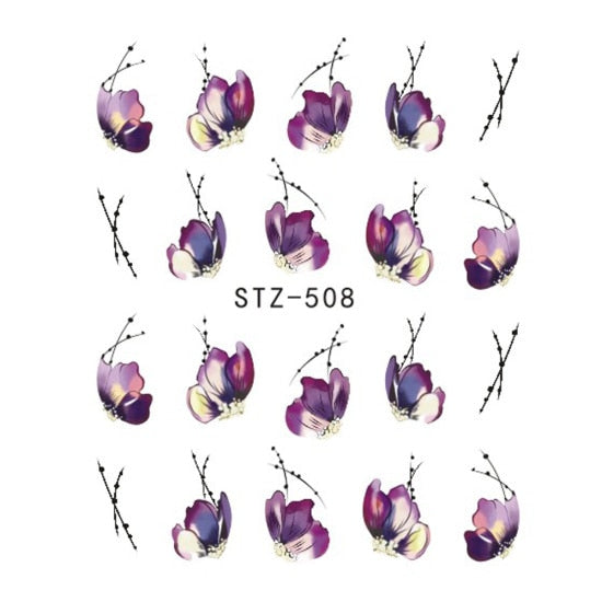 Slider Nail Water Sticker Flower Bloom Colorful Image Nail Art Decals - JJslove.com