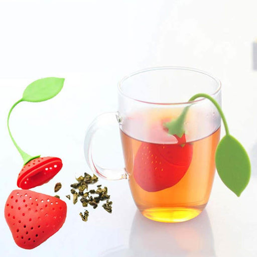 1 PCS Kitchen Supplies Tea Strainer Non-toxic Strawberry Shape Silicone Tea Bag Teapot Accessory - JJslove.com