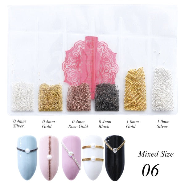 Mini Small Stainless Steel Beads Nails Art Decorations Nail Studs Accessories 0.4/0.6mm - JJslove.com