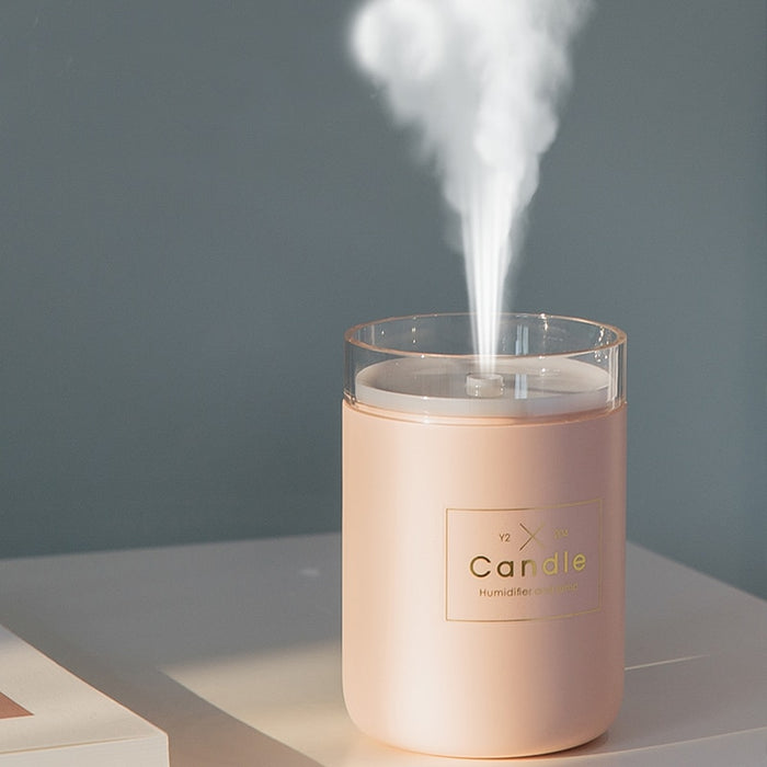 280ML Ultrasonic Air Humidifier Candle Romantic Soft Light USB Mist Maker - JJslove.com