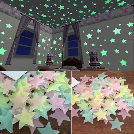 100PC Kids Bedroom Fluorescent Glow In The Dark Stars Glow Wall Stickers Stars Luminous - JJslove.com