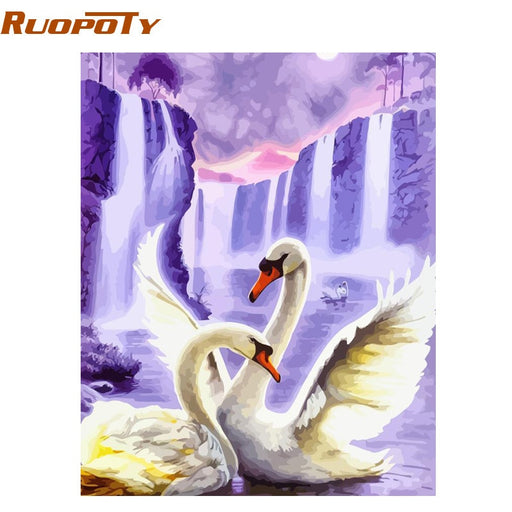 RUOPOTY Frame Swan Animals DIY Painting By Numbers Wall Art Picture Acrylic Canvas Painting - JJslove.com
