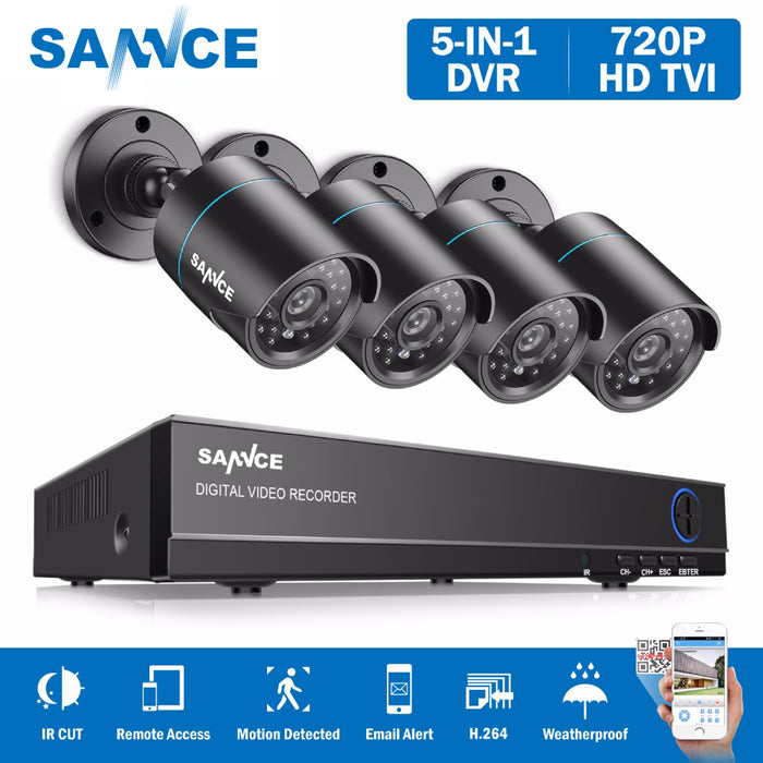 SANNCE 8CH 1080N DVR 720P CCTV System 4pcs 720P 1MP Security Cameras - JJslove.com