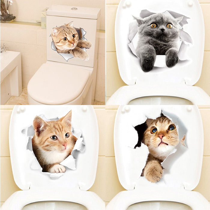 Cartoon animal stickers 3d stickers on the toilet seat for refrigerator cute cats PVC wall stickers - JJslove.com