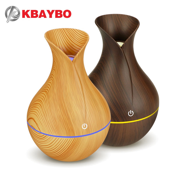 KBAYBO electric humidifier aroma oil diffuser ultrasonic wood grain air humidifier - JJslove.com