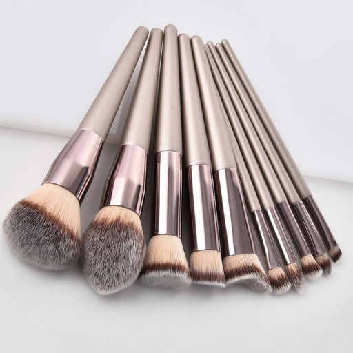 Luxury Champagne Makeup Brushes Set For Foundation Powder Blush - JJslove.com