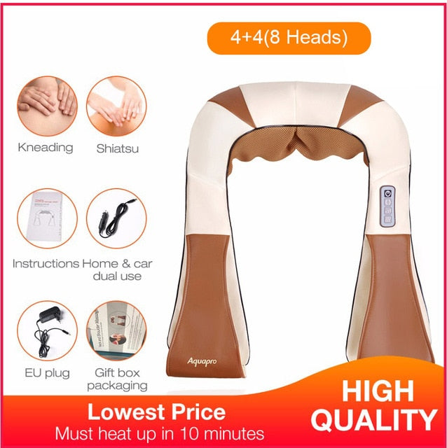 LaGuerir Home Car U Shape Electrical Shiatsu Back Neck Shoulder Body Massager - JJslove.com